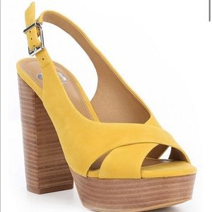 Gianni Bini Yellow Wooden Block Heels